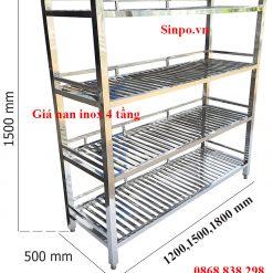 Kích thước giá nan inox 4 tầng Hà Nội HCM