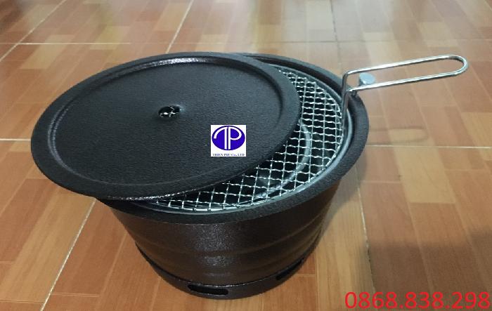 Bếp nướng than hoa âm bàn vỏ sắt kèm vỉ và lắp
