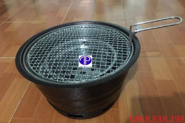 Bếp nướng than hoa âm bàn vỏ sắt kèm vỉ