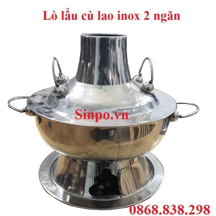 Lò lẩu cù lao inox 2 ngăn