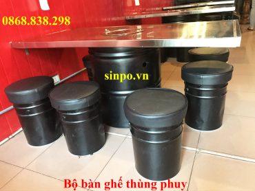 Bộ bàn ghế thùng phuy nhà hàng tại Hà Nội, TPHCM, Hải Phòng, Đà Nẵng, Bình Dương,..