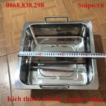Kích thước nối lẩu inox 2 ngăn vuông giá rẻ tại Hà Nội - HCM