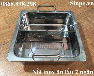 Nồi inox ăn lẩu 2 ngăn vuông giá rẻ tại Hà Nội