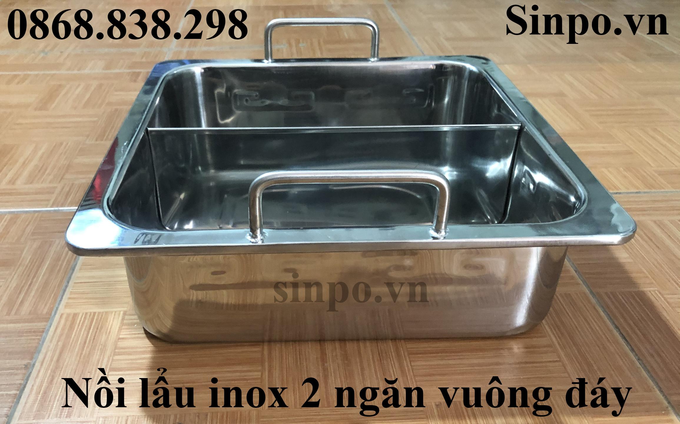 Giá bán nồi lẩu inox 2 ngăn vuông đáy